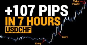 +107 Pips In 7 Hours USDCHF pyramid trade